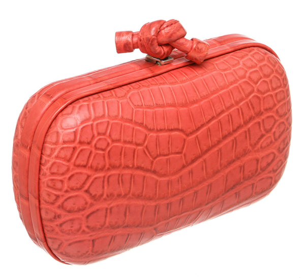 Bottega Veneta Coral Crocodile Knot Box Clutch