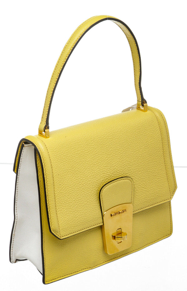 Miu Miu Yellow Goatskin Top Handle Bag