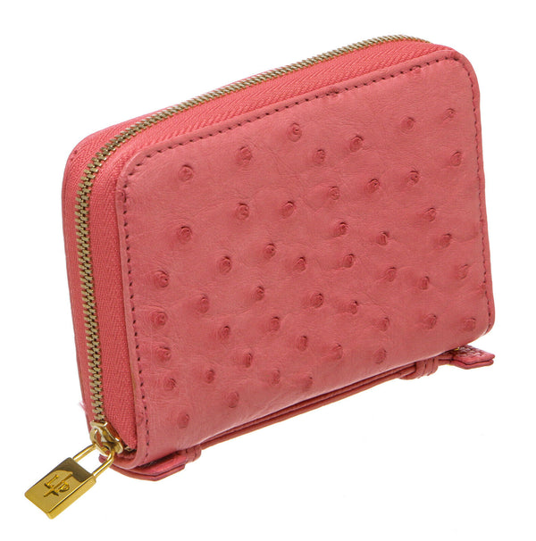 Loro Piana Pink Ostrich Mini Pochette Zip Around Wallet