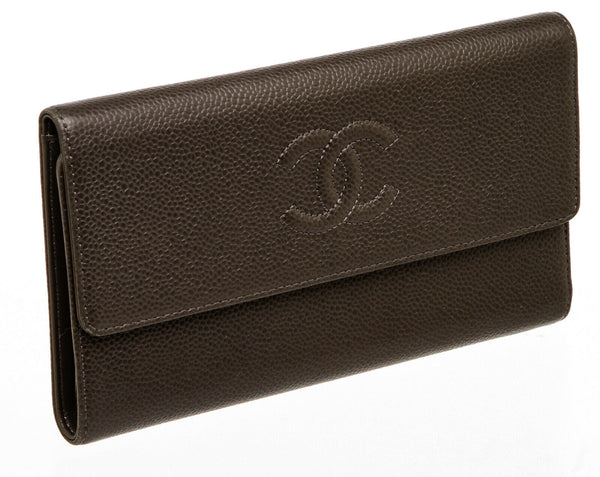 Chanel Gray Caviar Leather Trifold Wallet