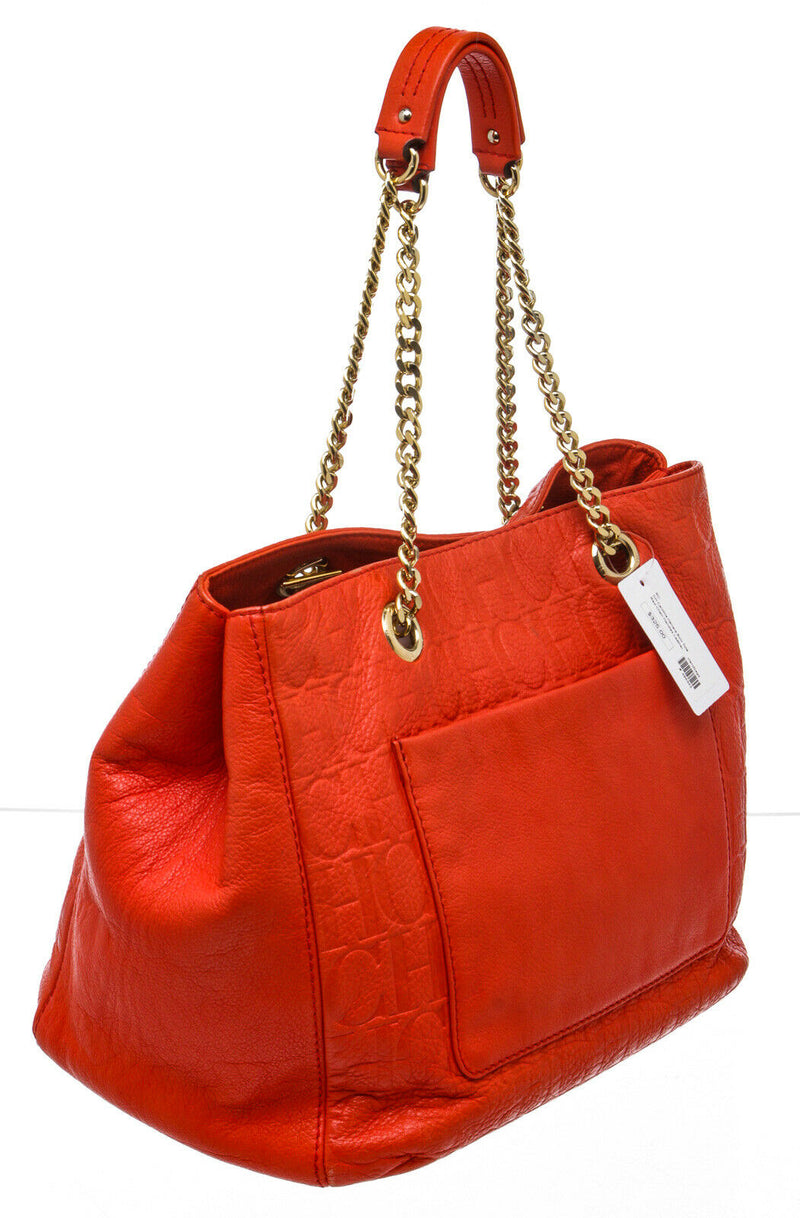 Carolina Herrera Red Embossed Leather Bow Tote Bag