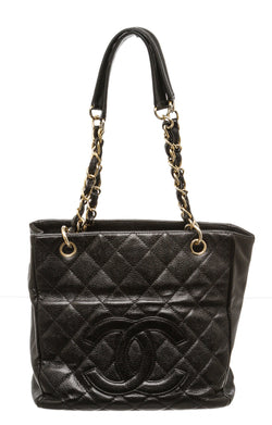 Chanel Black Caviar Leather PST Tote Bag