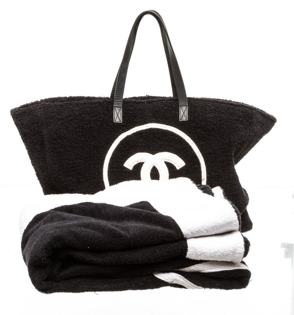 Chanel Black and White Terry Cloth Beach Bag