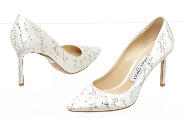 Jimmy Choo White Satin Romy Fireworks Pumps (Size 36)