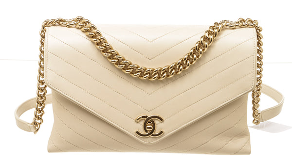 Chanel Cream Chevron Envelope Flap