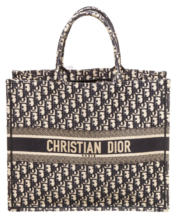 Christian Dior Blue Tote Book Oblique Bag