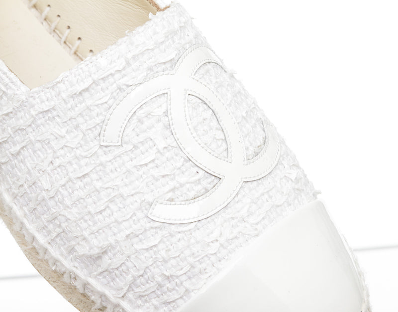Chanel White Tweed and Patent Leather CC Captoe Espadrilles (Size 37)