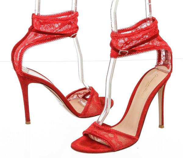 Gianvito Rossi Red Suede and Lace Halle Sandals (Size 39)
