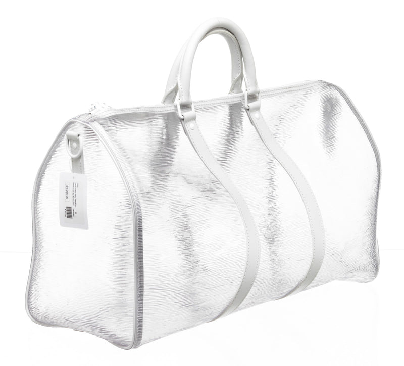Louis Vuitton Clear and White Wavy Epi Keepall Bandouliere 60