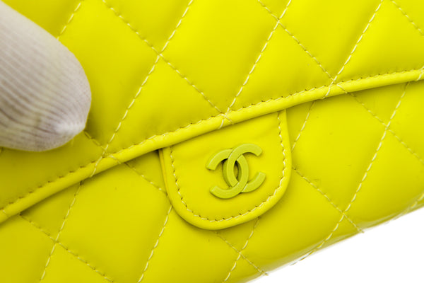 Chanel Yellow Quilted Patent Leather Matelasse Travel Clutch Wallet