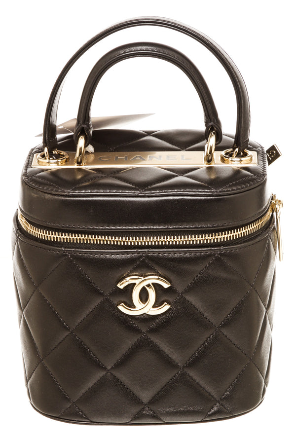 Chanel Black Lambskin Quilted Trendy Mini Vanity Case With Chain