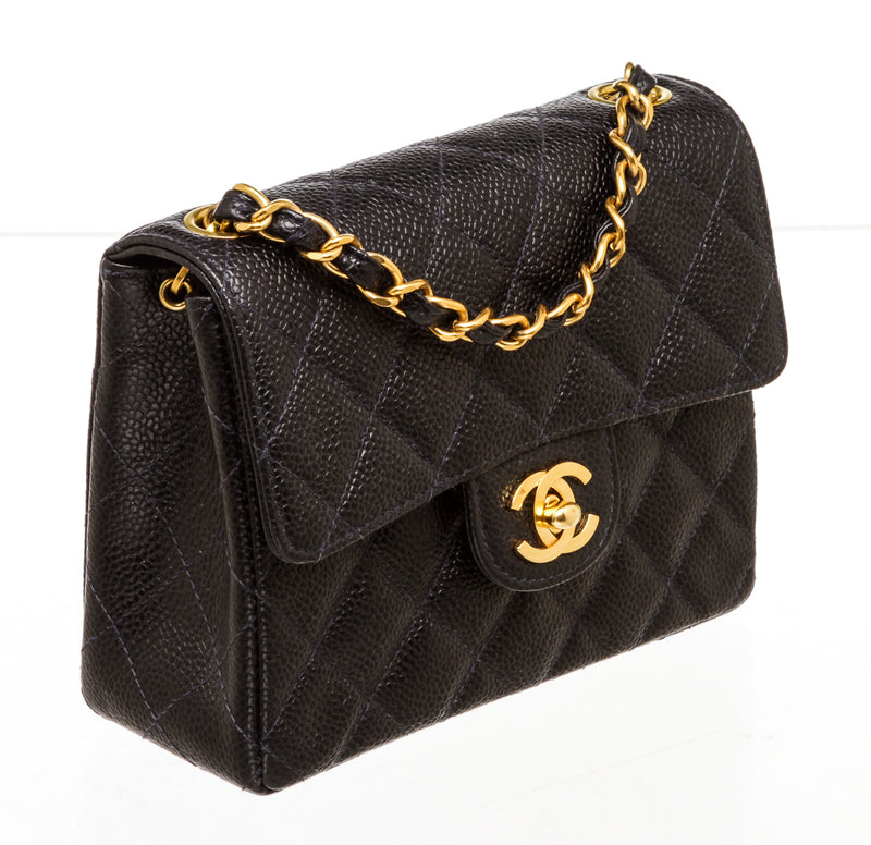 Chanel Navy Blue Caviar Leather Classic Mini Vintage Square Flap Bag