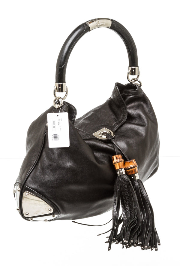 Gucci Black Leather Indy Hobo Bag