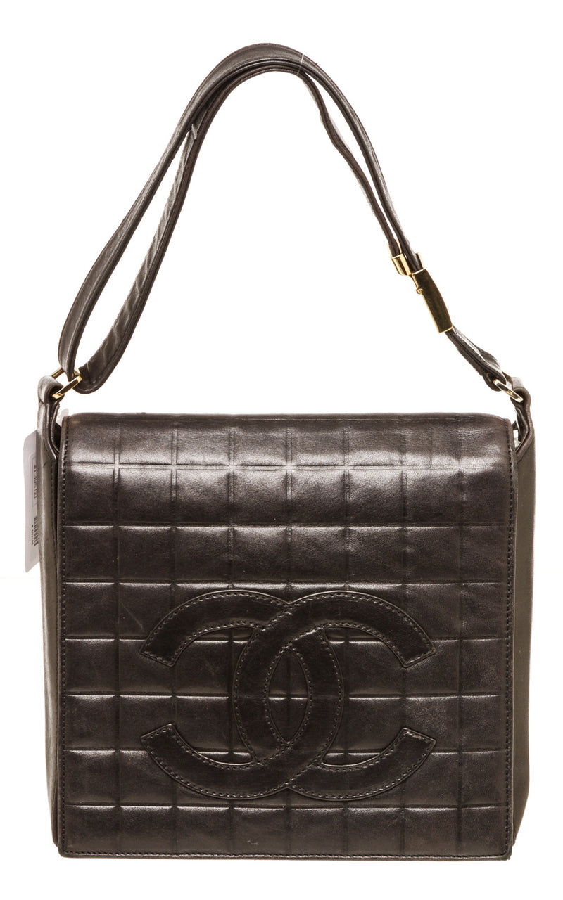 Chanel Lambskin Quilted CC Chocolate Bar Flap Black