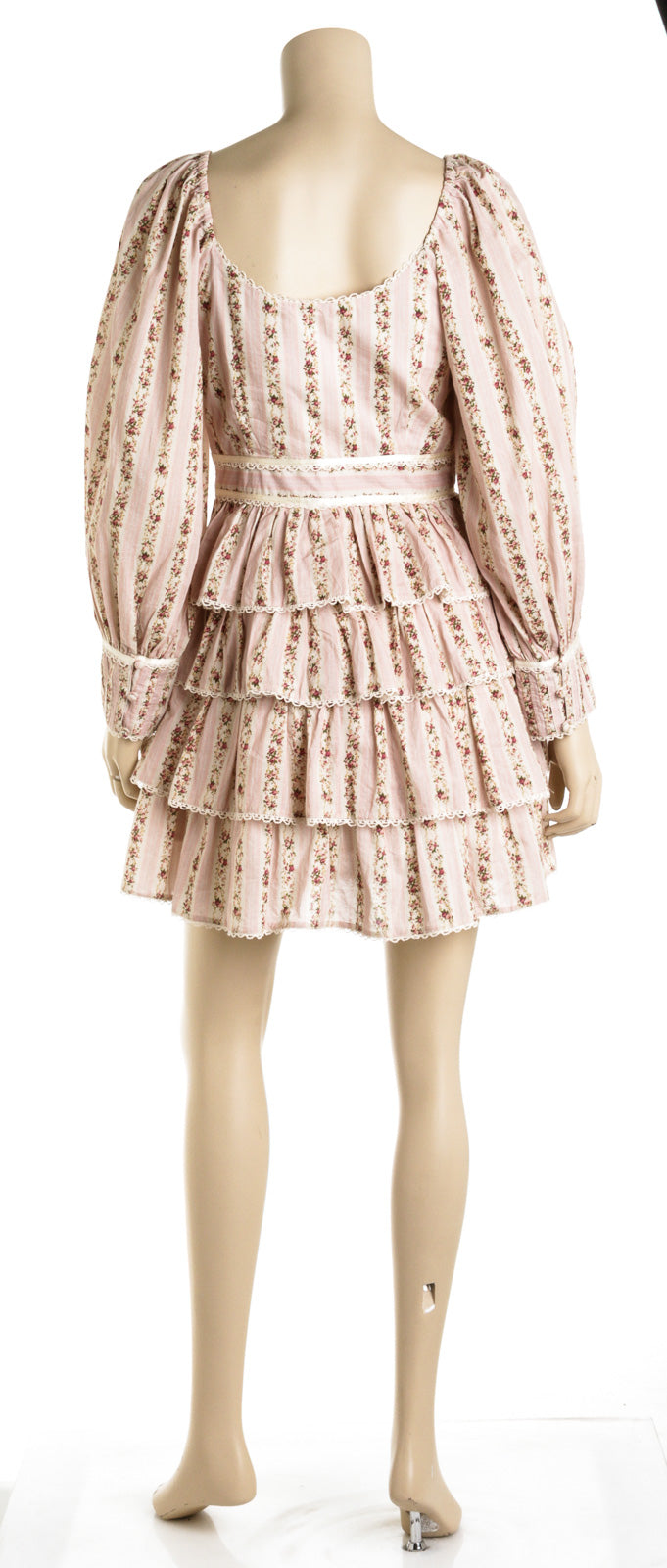 LoveShackFancy Astor Floral Pink Ruffle Dress (Size 4)