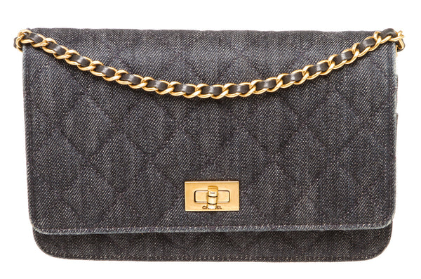 Chanel Blue Denim Reissue WOC Gold Hardware
