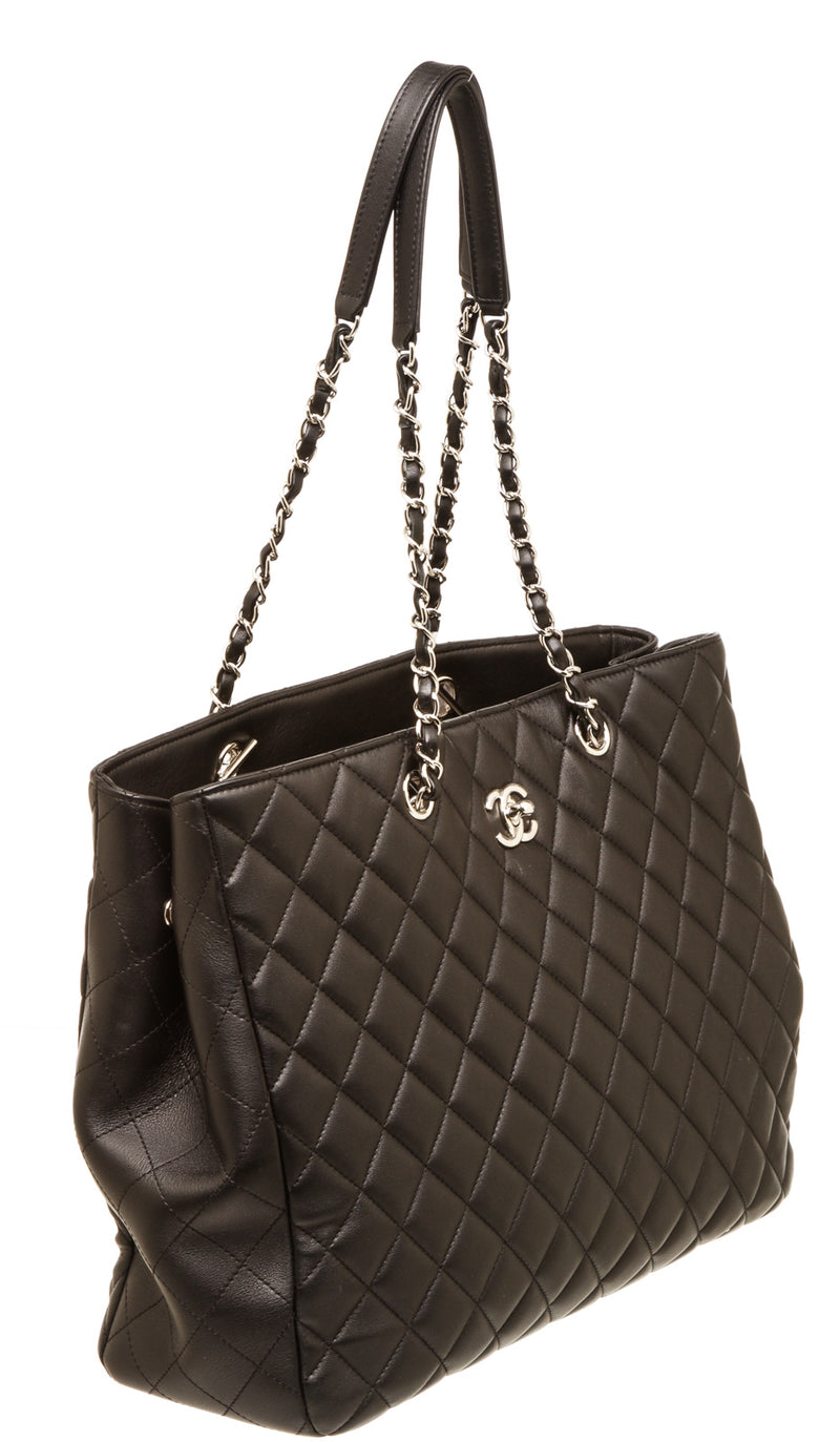 Chanel Black Shopping Tote Silver Hardware