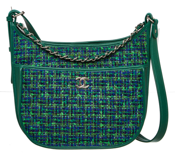 Chanel Green Multicolor Tweed and Leather Crossbody Bag