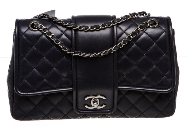 Chanel Navy Blue Lambskin Flap Bag SHW