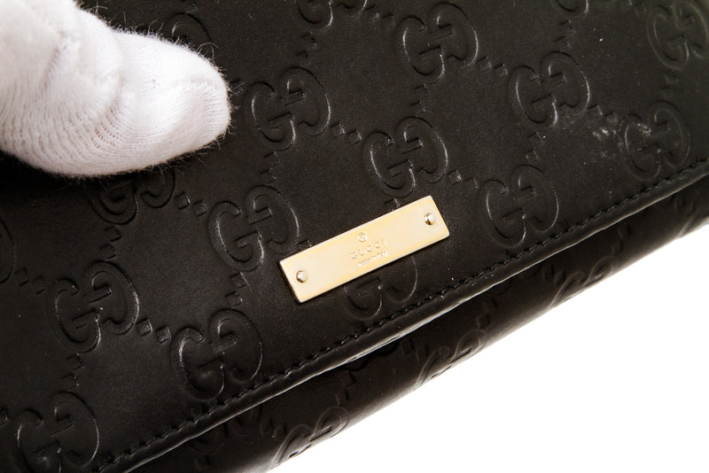 Gucci Black Guccissima WOC Wallet On A Chain