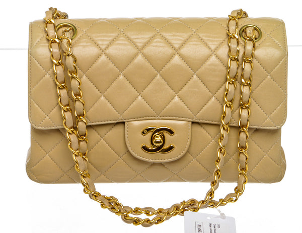 Chanel  Beige Lambskin Leather Quilted Double Flap Classic Medium Handbag