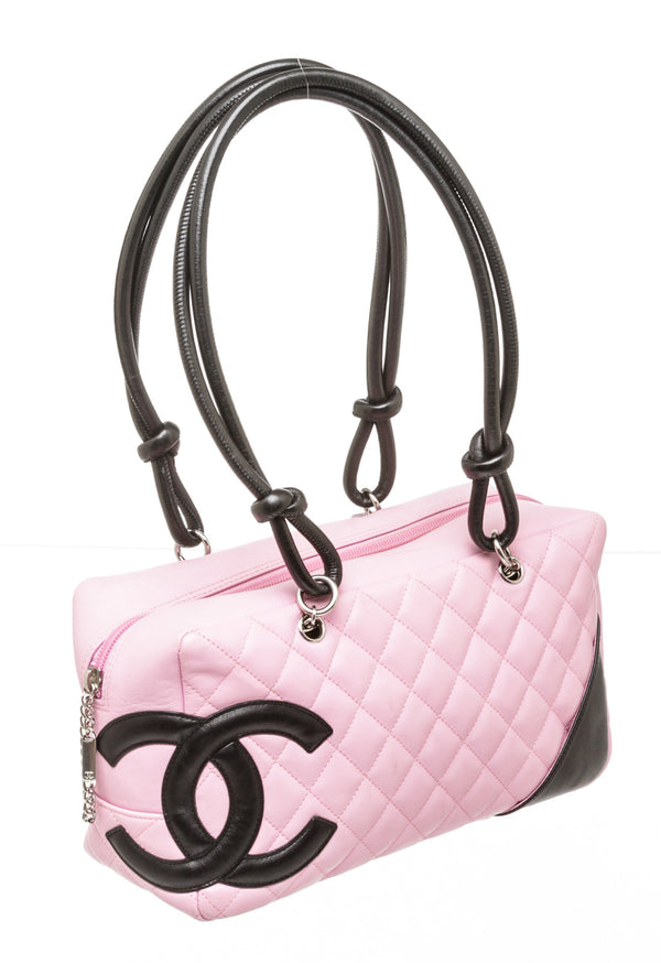 Chanel Pink and Black CC Cambon Bowler Bag