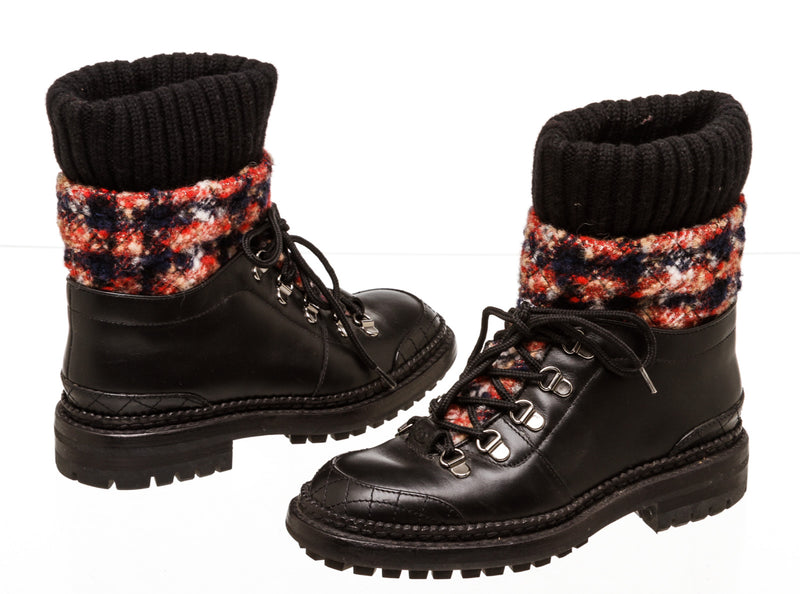 Chanel Black Leather & Red Plaid Hiking Boots ( Size 35)