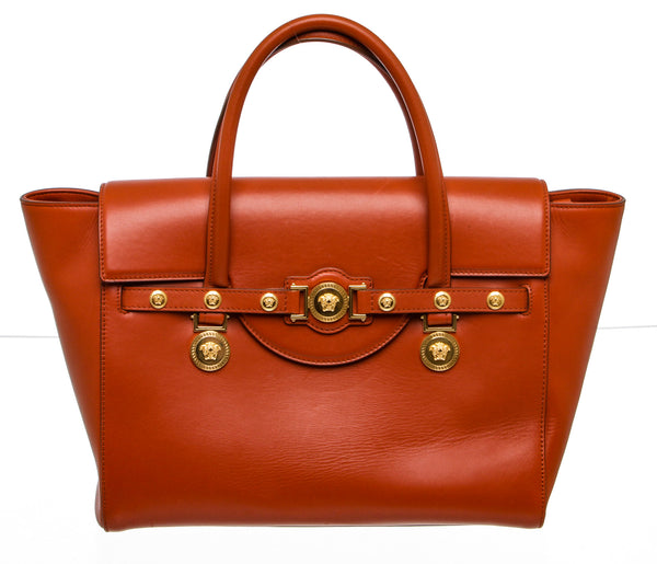 Versace Tan Terracota Leather Medusa Signature Satchel Bag
