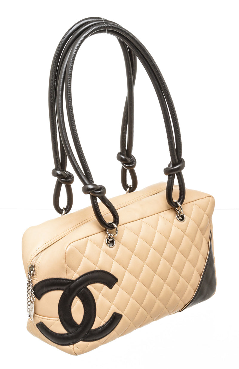 Chanel Beige Cambon Quilted Bowler Bag