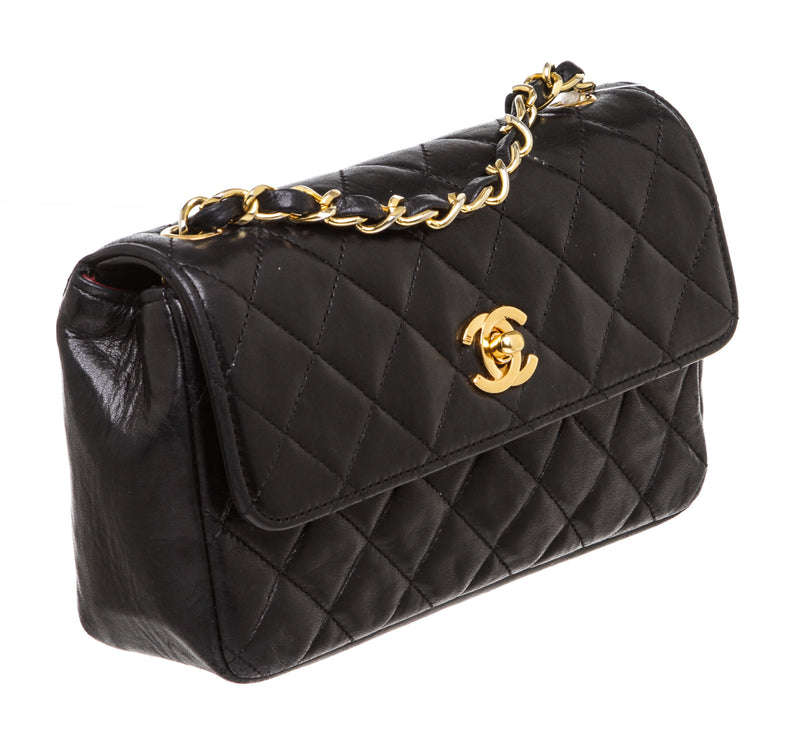 Chanel Black Vintage Mini Lambskin Leather Quilted Flap