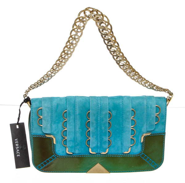 Versace Turquoise Suede Clutch Shoulder Bag