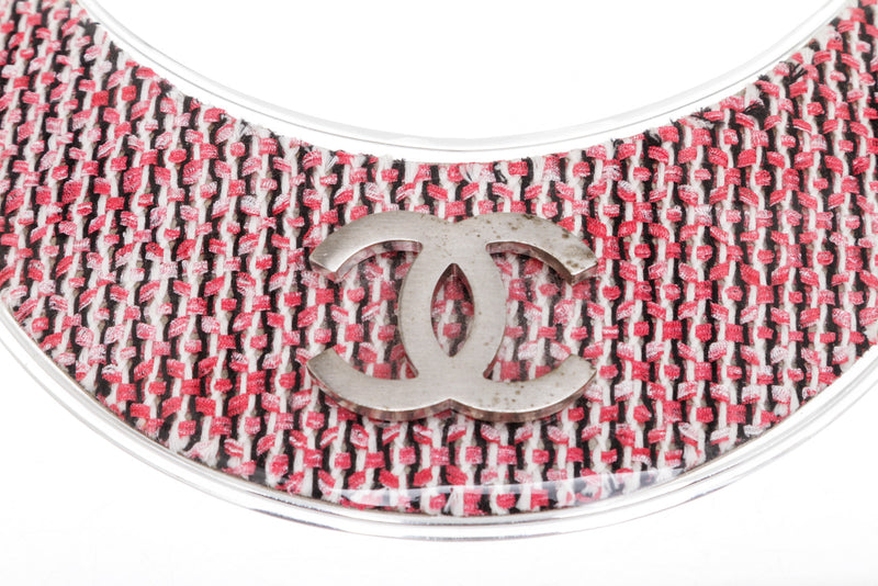 Chanel Pink Tweed & Silver Clear Plaque Necklace