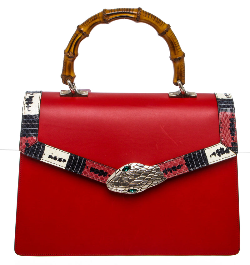 Gucci Red Leather Lilith Bamboo Top Handle Bag