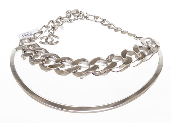 Chanel Silver Chunky Chainlink Clear Necklace