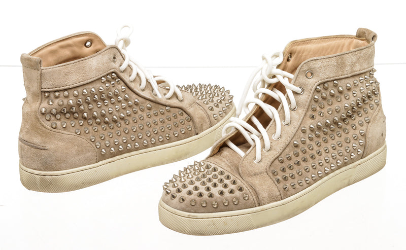 Mens Christian Louboutin High Top Spike Taupe Sneakers ( Size 44 )