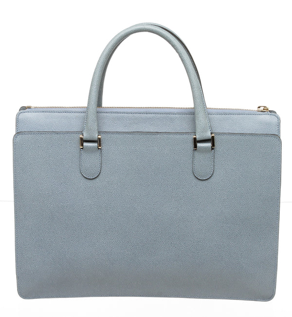 Valextra Smokey Blue Leather Top Zipper Tote GHW