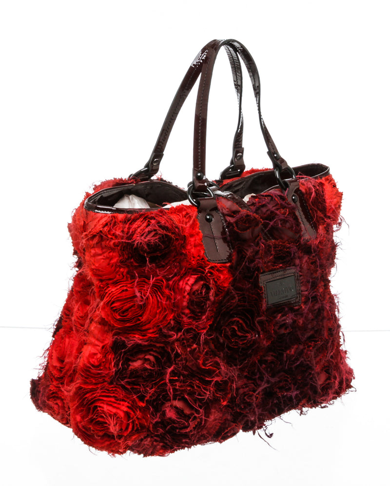 Valentino Red Silk Rose Ombre Tote Bag
