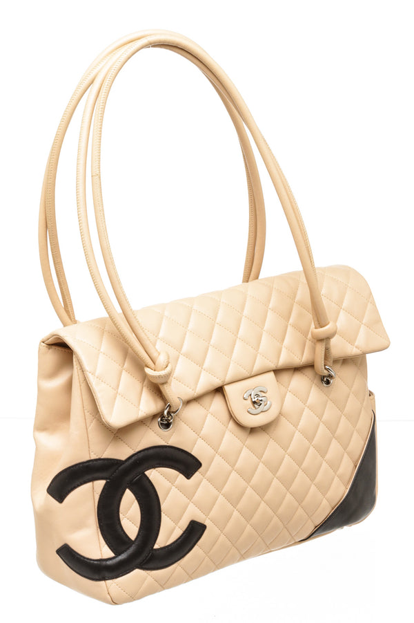 Chanel Beige And Black Cambon Tote/ Shoulder Bag SHW