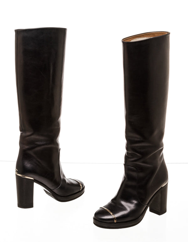 Chanel Black Leather Tall Boots with Silver Embellishments (Size 36)