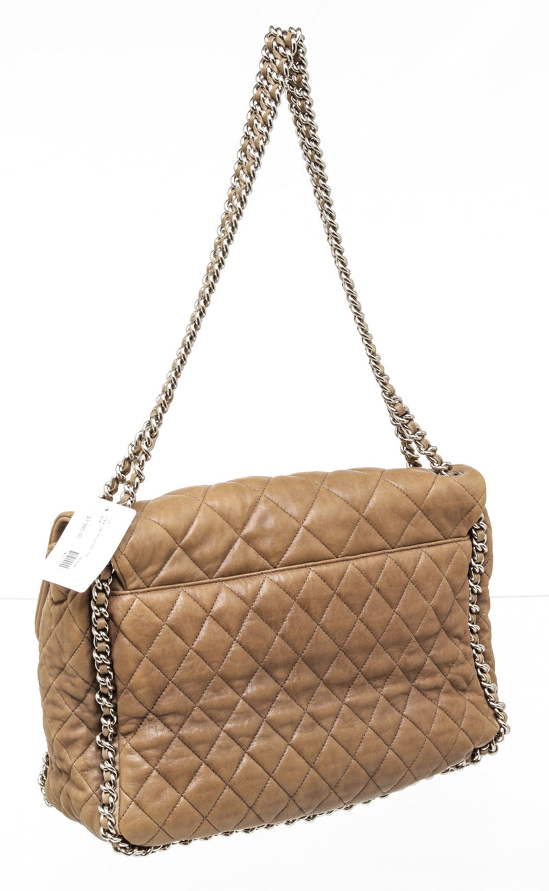 Chanel Dark Beige Leather Quilted Nubuck Chain Around Flap Bag SHW