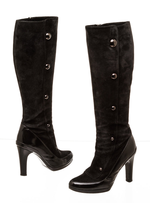Fendi Knee High Black Suede and Leather Boots ( Size 37 )