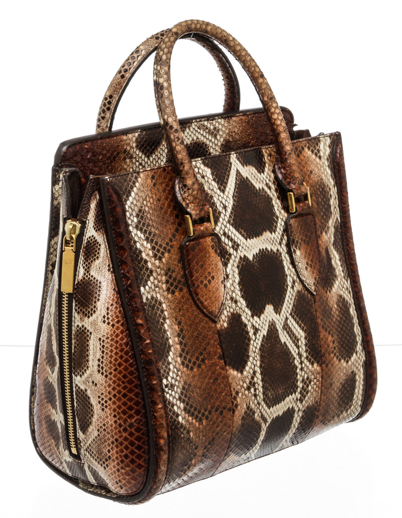 Alexander McQueen Brown Multicolor Watersnake Large Heroine Bag