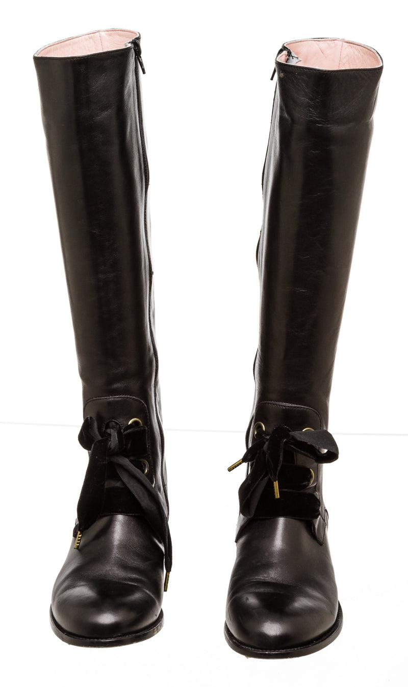 Red Valentino Lace up Black Leather Boots (Size 40)