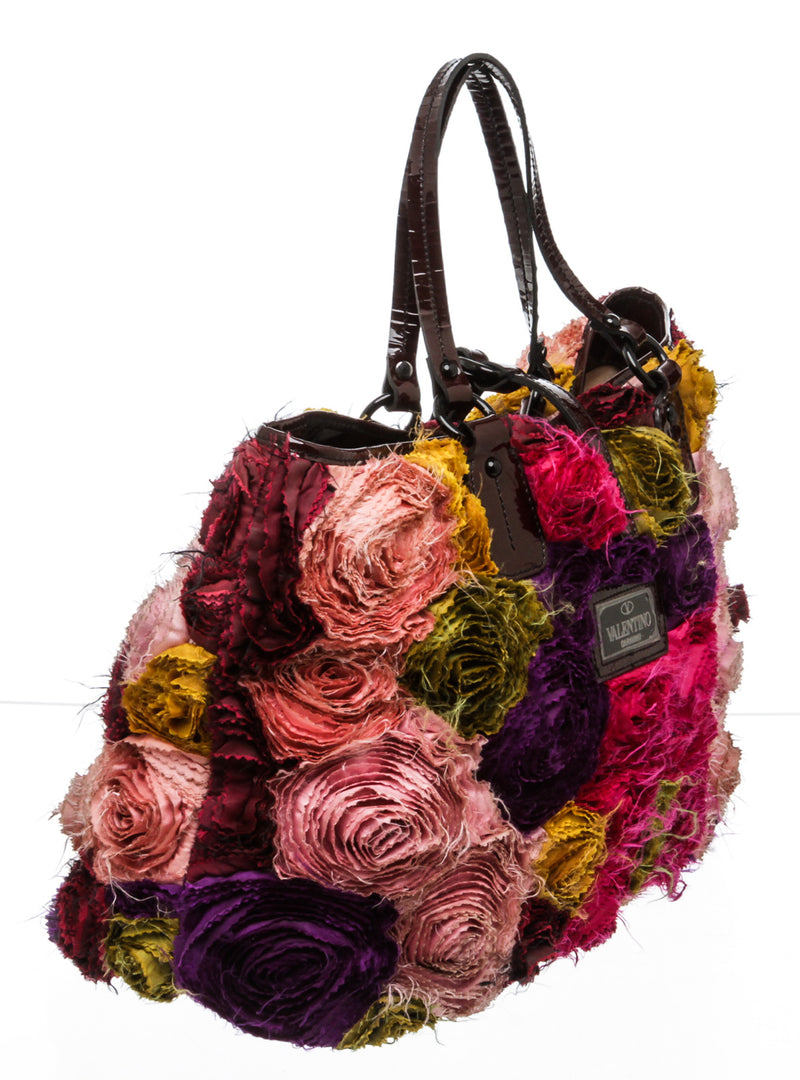 Valentino Pink Purple Multicolor Rose Petal Tote Bag