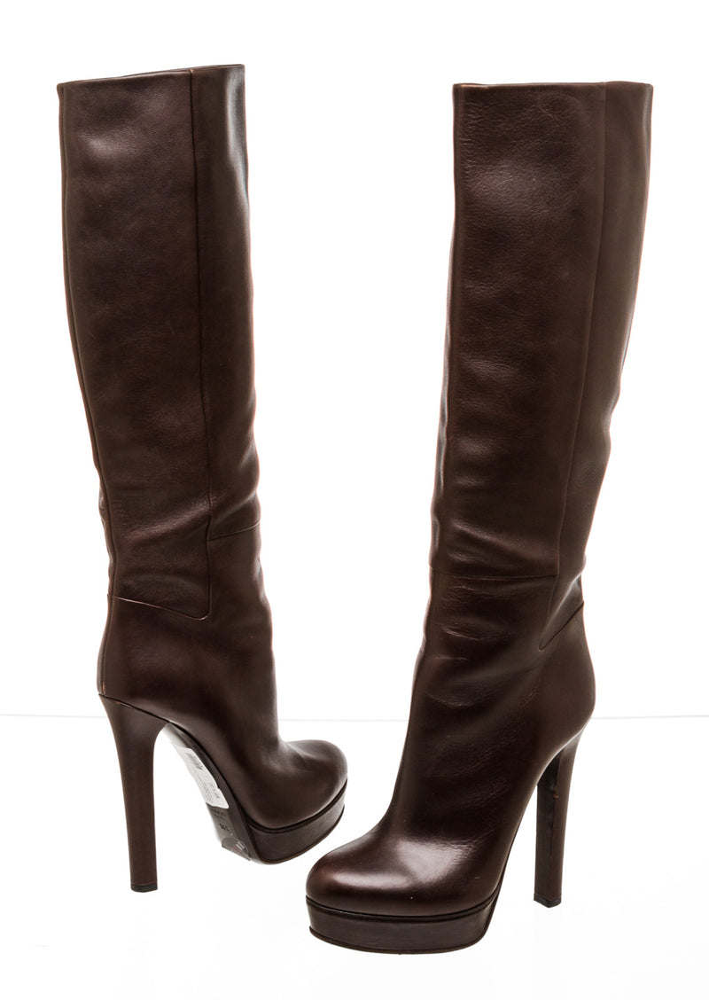 Gucci Brown Knee High Platform Leather Boots (Size 38.5)