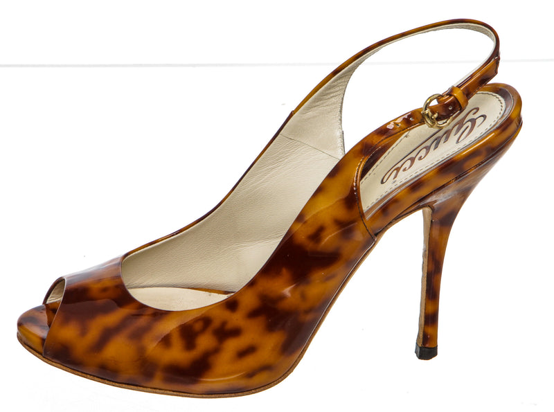 Gucci Brown Tan Tortoise Patent Leather Slingback Heels Size 36.5