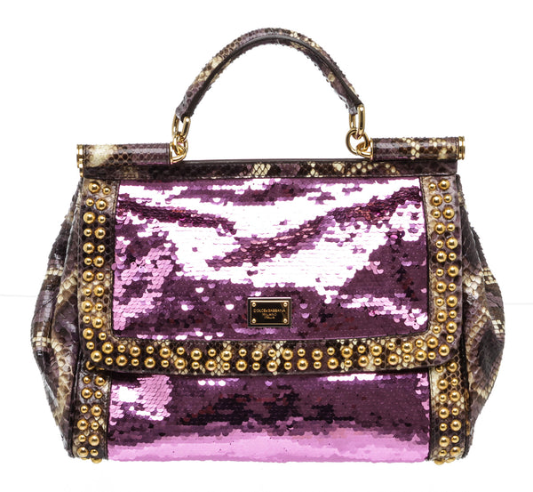 Dolce & Gabbana Purple Sequin Watersnake Top Handle Handbag GHW
