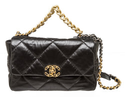 Chanel Black Goatskin Quilted Medium 19 Flap Handbag GHW And SHW