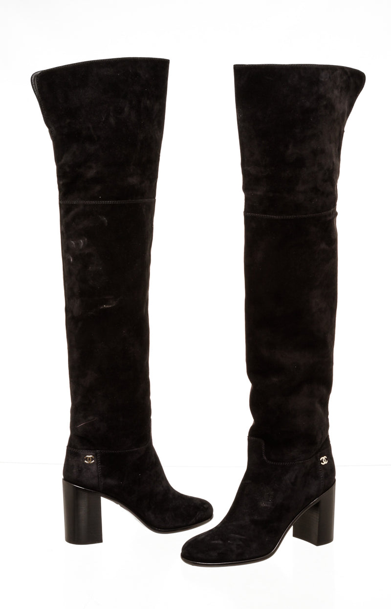 Chanel Black Suede Thigh Length Boots ( Size 40 )