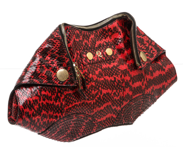 Alexander McQueen Black And Red Snakeskin Manta Clutch